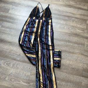 Sequin Striped Jumpsuit